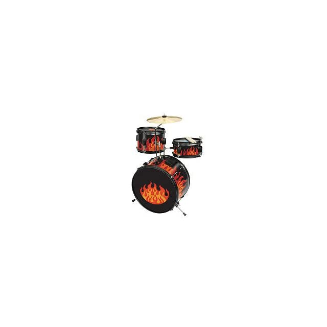 First Act FIRE ORANGE Light Up Drum Set WITH SOUND ACTIVATED LIGHT EFFECTS