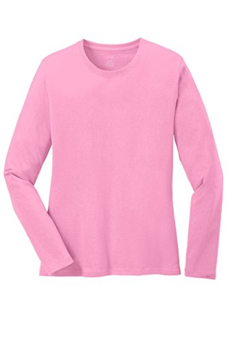 Candy Womens Pink T-shirt (Joe's USA(tm) - Ladies Long Sleeve 5.4oz 100% Cotton T-Shirt-Candy Pink-S)
