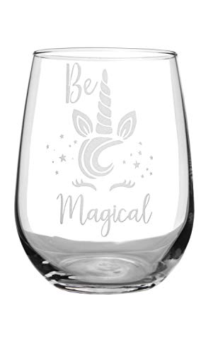 Stemless Wine Glass 17oz | With Permanent Etching | Fun Gifts | Dishwasher Safe (Unicorn) ()