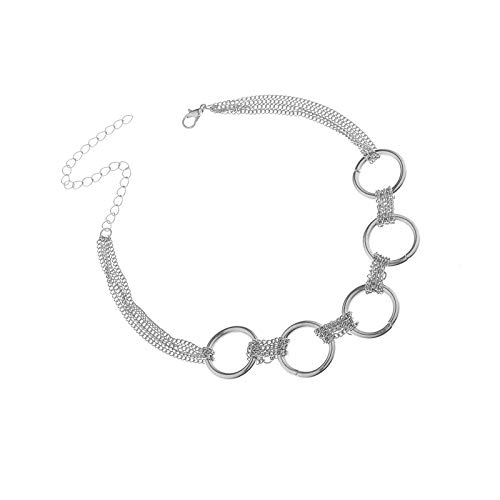 Link Iron Circles Choker Necklace | Punk Style Zinc Alloy Fine Chain | Neck Collar Statement Necklace Jewelry for Women