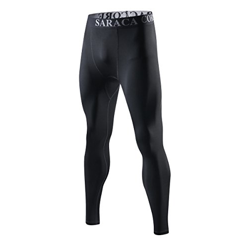 Saraca Core Men's Compression Tight Sport Pants Leggings Base Layer (Large)