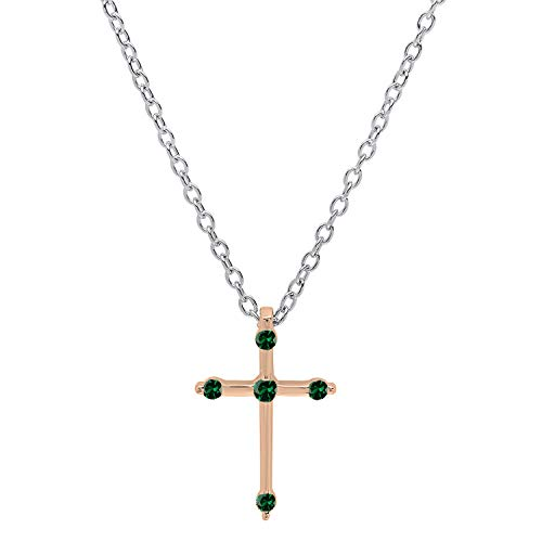 Dazzlingrock Collection 18K Round Lab Created Emerald Ladies Cross Pendant (Silver Chain Included), Rose Gold