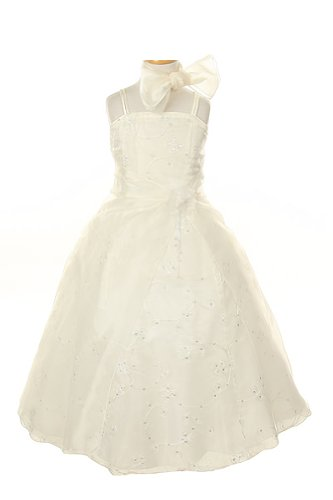 Cinderella Couture Girl's Crystal Organza Embroidery Special Occasion Pageant Dress - Ivory 4