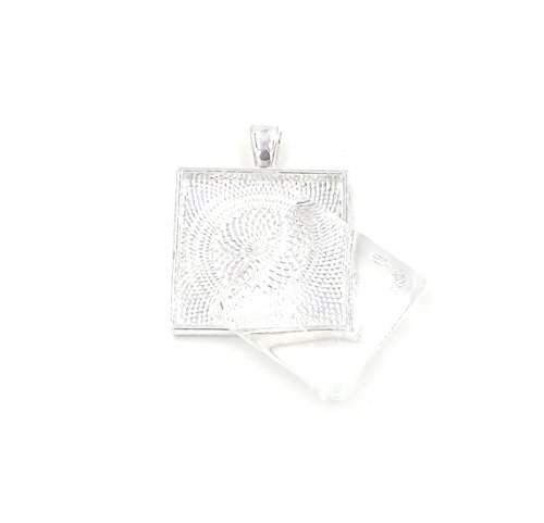 (12 Deannassupplyshop 1 inch square Pendant Trays with glass dome - Silver - 1 inch - Pendant Blanks Cameo Bezel Settings Photo Jewelry - Custom Jewelry Making - 1 inch)