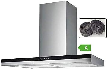 Vlano/TITANIUM 600 IX incluye filtro de carbón activo/60 cm/Campana extractora/panel de vidrio negro/ECO LED/Touch/hasta 900 m3/h/50 dB.: Amazon.es: Bricolaje y herramientas