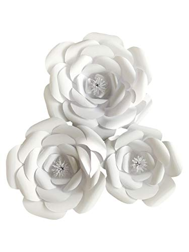 Large Paper Flower Petal Kit - White - 72 Piece Pack - Paper Flowers Decoration - Makes 3 Complete Flowers - DIY Do It Yourself - Rose (white)