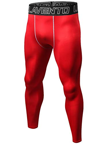 Lavento Men's Compression Pants Cool Dry Workout Tights (1 Pack-L1010 Red,XX-Large) ()