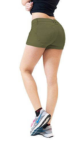 HyBrid & Company Womens Butt Lifting Twill Denim Shorts-SH43308X-ARMY GREEN-18 (Best Place For High Waisted Shorts)