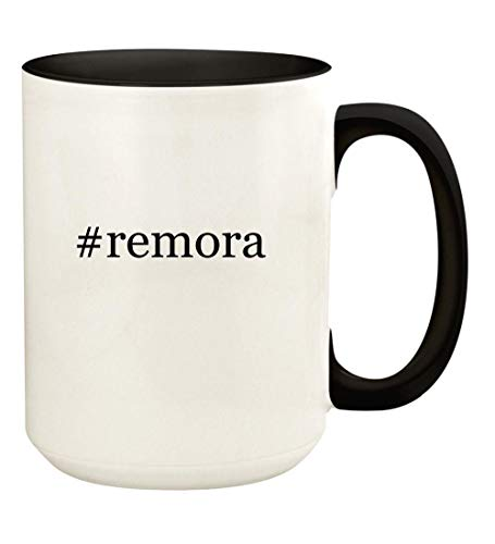 #remora - 15oz Hashtag Ceramic Colored Handle and Inside Coffee Mug Cup, Black