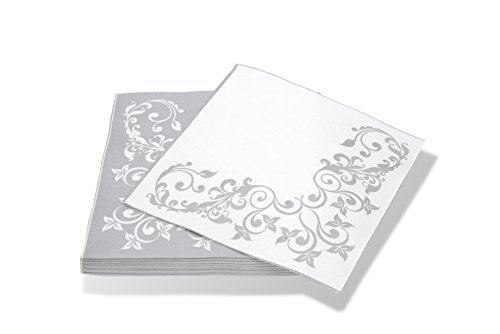 "Simulinen DISPOSABLE Dinner Napkins – DECORATIVE, FANCY, SILVER– Cloth Like Dinner Napkins – Soft, Absorbent & Durable – 16""x16"" – Pack of 50 by Simulinen"