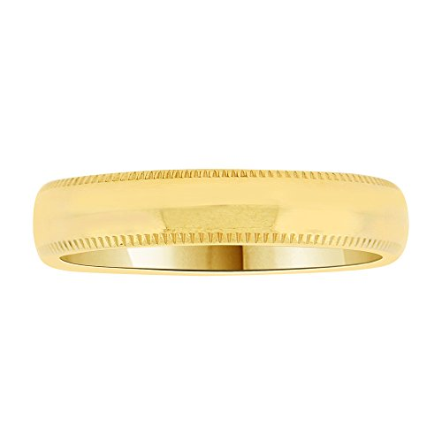 14k Yellow Gold, Classic Milgrain Plain Polished Band Ring 4mm Wide Size 11 by GiveMeGold