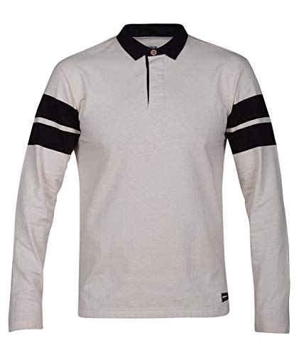 (Hurley Men's Collared Rugby Polo Long Sleeve Shirt, Light Cream M)
