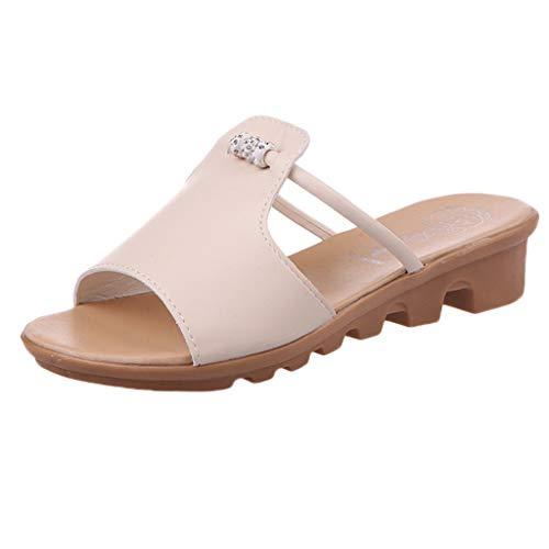 - Dressin Boho Slippers Fashion Ladies Beaded Rhinestone Student Peep Toe Slippers Beach Shoes Non-Slip Sandals Beige