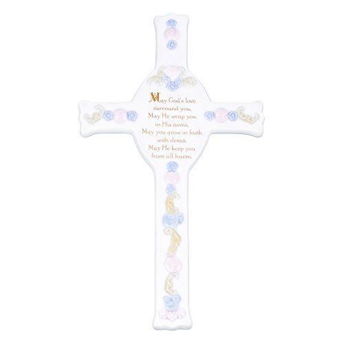(Roman Baptism God's Love Blue Baby Boy White Porcelain Wall Cross)
