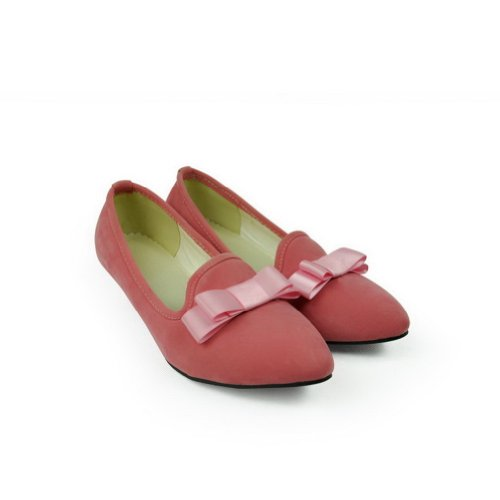 Frosting WeenFashion Shape Pink US M Low Cone Pointed PU Closed B with Toe Women's Bowknot Heels 7 Pumps Solid zrq6zIf