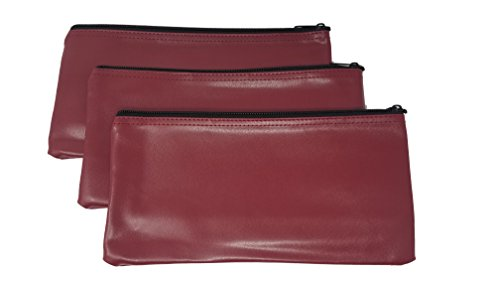 3-Piece Set PM Company Security Bank Deposit / Utility Zipper Coin Bag / Pouch Safe Money Organizer Bag / 11 X 5.5 Inches (Maroon)