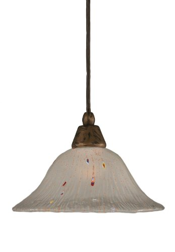 Toltec Lighting 22-BRZ-731 Cord Mini-Pendant Light Bronze Finish with Frosted Crystal Glass, 10-Inch