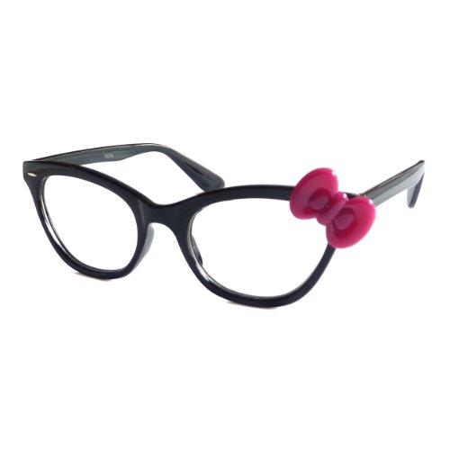 HELLO KITTY Style Women Nerd Cat Eye Frame Clear Lens Glasses BLACK/PURPLE