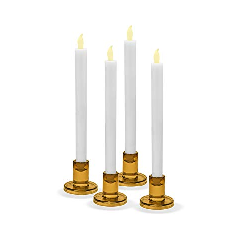 Candlestick Style Holders - LampLust Amber Glass Candle Holders, Set of 4 - Round, Golden Yellow, 2.5