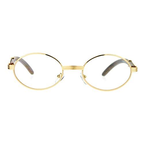25b8a1dbdb Amazon.com  Clear Lens Eyeglasses Unisex Vintage Fashion Oval Frame Glasses  Yellow Gold  Clothing