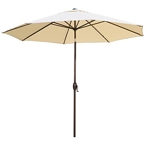 Abba Patio 11-Feet Outdoor Market Umbrella with Push Button Tilt and Crank, 8 Ribs, Beige