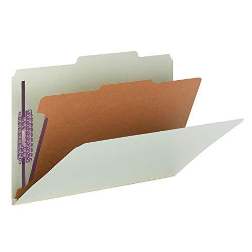 Premium Green Storage Box - Smead Pressboard Classification File Folder with SafeSHIELD Fasteners, 1 Divider, 2