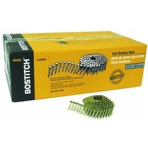 BOSTITCH CR3DGAL 1-1/4-Inch Smooth Shank 15 Inch Coil Roofing Nails, 7,200-Qty. by Bostitch