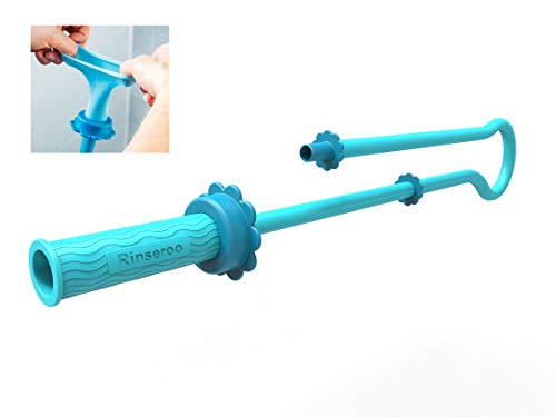 (RINSEROO Super-Stretch, Slip-on Dog wash Hose Attachment. Pet Shower Sprayer for showerhead and Sink. Handheld showerhead Rinser for Dogs. Fits Most faucets. Universal 5 Foot Hose!)