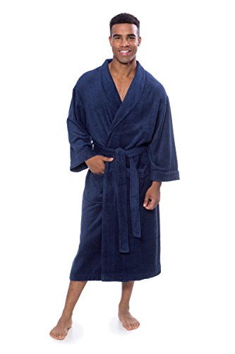 Texere Men's Luxury Terry Cloth Bathrobe (EcoComfort, Medieval Blue, LXL) Best ()