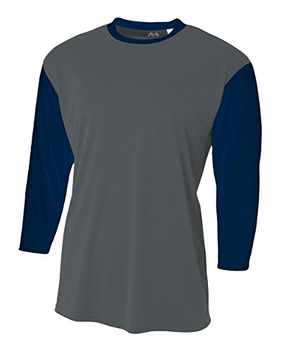 Graphite/Navy Blue Youth Medium 3/4 Sleeve Baseball/Softball Raglan Utility