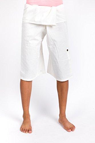 Raan Pah Muang RaanPahMuang Light Cotton Wrap Capri Fisherman Pants Roll Up Leg Ties White XS by Raan Pah Muang