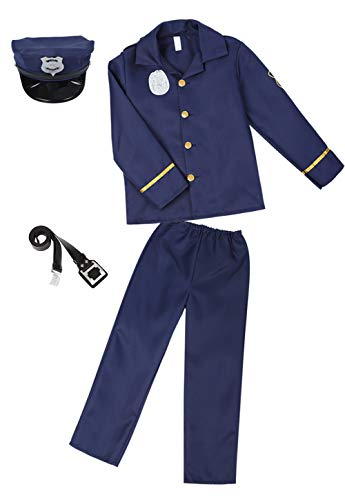 Police Costume for Kids Deluxe Police Officer Dress Up Halloween Role Play Costume Set -