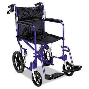 (Medline Excel Deluxe Aluminum Transport Wheelchair, 19W X 16D, 300Lb Cap)