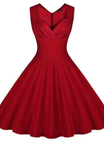 4e2da8300a71 Miusol Women's Cut Out V-Neck Vintage Casual Polka Dot 1950'S Retro Dress  (Small