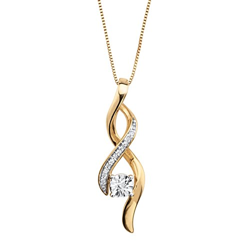 (White Diamond Accent 14k Gold over Sterling Silver Ribbon Twist Drop Necklace)