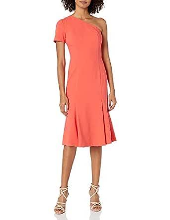 Black Halo Womens 3599794 Joyce One Shoulder Dress Short-Sleeve Dress - Pink - 10