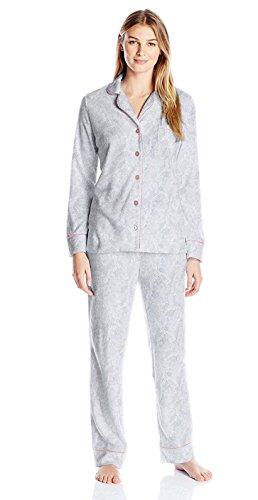 (Carole Hochman Women's Packaged Notch Collar Microfleece Pajama Set, Lace Floral, XL)