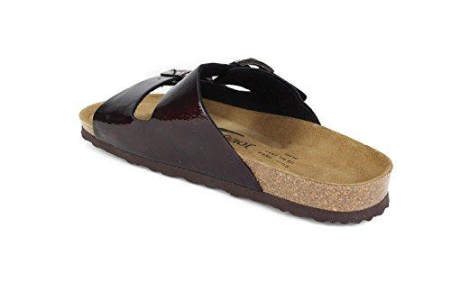 JOE N JOYCE Women London Soft-Footbed Hammertone SynSoft Sandals Slippers Narrow Bordeaux SAvHWjz