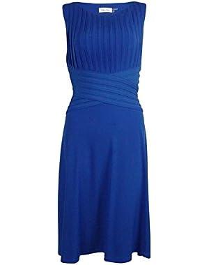 Calvin Klein Women's Pleated Flared Matte Jersey Dress