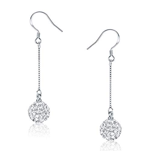- SKA Jewelry 10mm Disco Ball Drop Dangle Earrings for Women Sparkly Shiny Cubic Zirconia Ball Long Chain Hook Earrings White Gold Plated