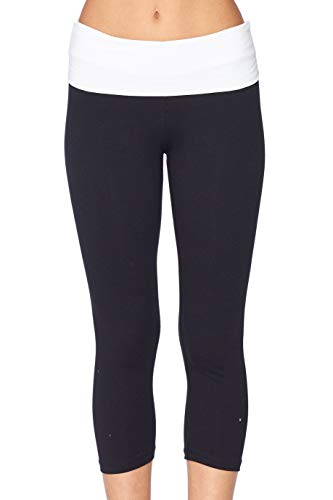 Crop Pant Fold Over - Women's Slimming Foldover Capri Crop Yoga Pants,White/Black,Small
