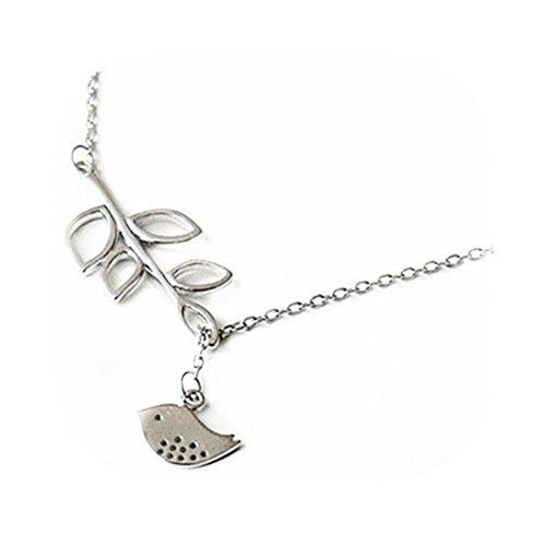 CHOP MALL Jewelry Chains Fashion Cute Bird Leaf Shape Pendant Necklace (1 Pc)