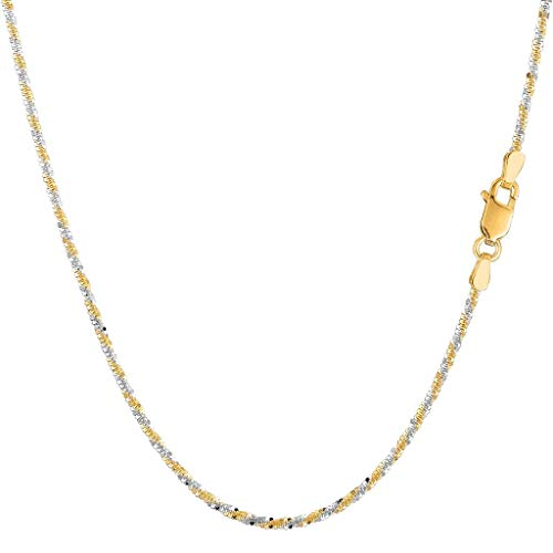 (14K Two-Tone Yellow & White Gold or White & Rose Gold or Yellow or White Gold 1.5mm Shiny Diamond-Cut Sparkle Chain Necklace for Pendants and Charms with Lobster-Claw Clasp (10