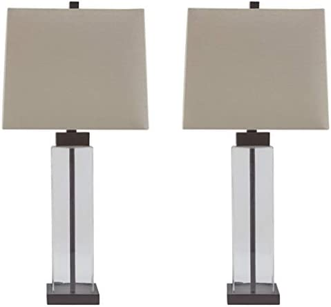 Amazon Com Signature Design By Ashley Alvaro Table Lamp Set Of 2 Clear Bronze Finish Furniture Decor