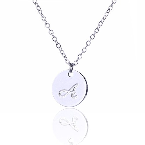 AOLO Silver Color Initial Disc Necklace Script Cursive A - Initial Disc Necklace