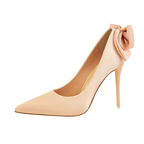 Drew Toby Women Pumps Butterfly-Knot Pointed Toe Shallow Fashion Wedding High Heels ()