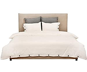 Jorbest Duvet Cover Queen, Washed Cotton Duvet Cover Set - 3 Piece with Buttons, Luxury Bedding Set (Cream)