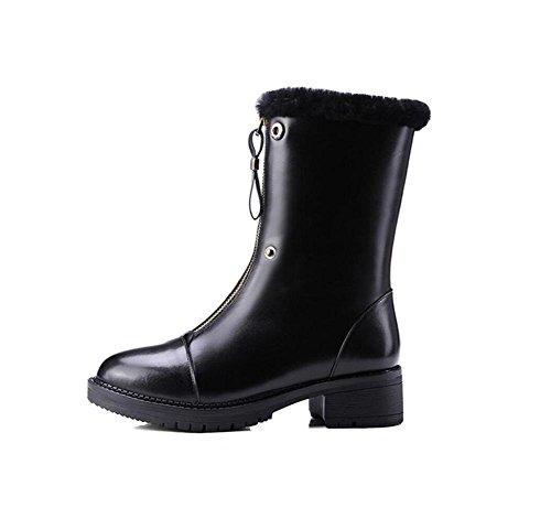 donna stivali centrale Velvet Boot 36 Vera pelle Plus 35 anteriore suola sopra spessa Martin Flip camel cerniera zwSTOqS