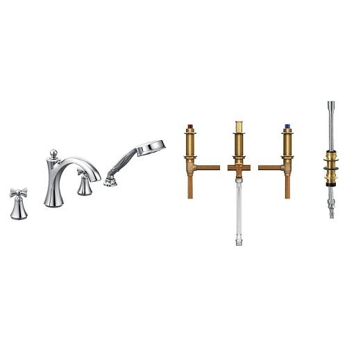 Moen T658BN-9792 Wynford Two-Handle Diverter Roman Tub Faucet Includes Hand Shower with Valve, Brushed Nickel