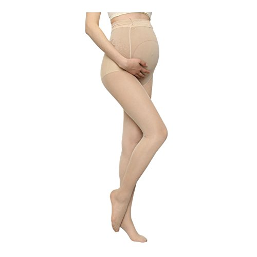 Janjunsi Maternity Closed Toe Pantyhose Tights - 10 Den Support Belly Tights